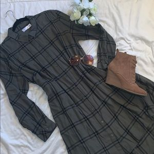 Time and Tru Flannel Tunic Olive & Black Plaid XXL